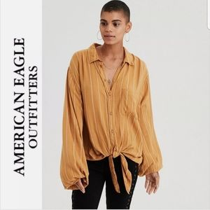 AE Button Down Long Sleeve Tie Blouse